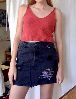 Black denim embroidered skirt