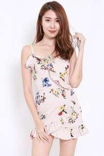 Floral Pinstriped Mini Dress