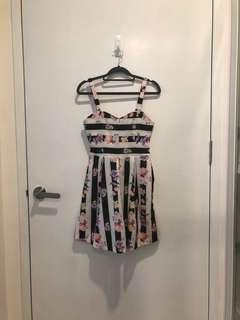 BNWT Bridge by FashMob Black and White Striped Floral Dress with purple pink and yellow flowers