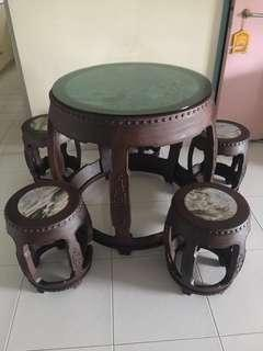 Wooden Antique Table and Chairs