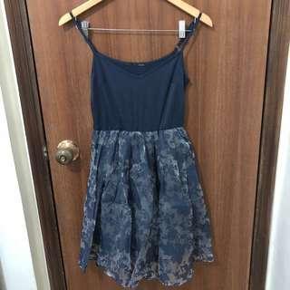 Heather 深藍色吊帶連身裙