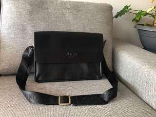 Leather polo satchel
