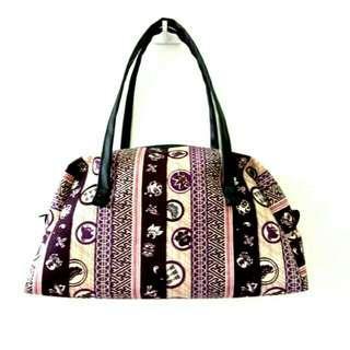 Japan handbag in purple n pink stripes