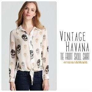 Vintage Havana Tie Front Skull Shirt (Bought from U.S)
