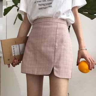 ✨(mcs) pastel colour checkered aline skirt