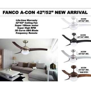 """*SPECIAL OFFER* FANCO ACON 42""""/52"""" CEILING FAN + LED Bulbs Free!"""