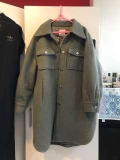 🚚 正韓 毛料 灰綠大衣外套