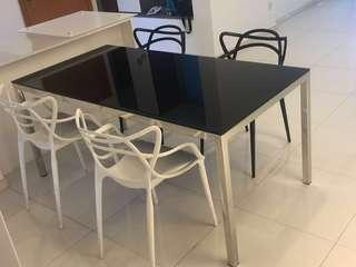 Cellini tempered glass designer dining table  chairs
