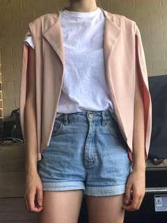 Oskar nude open arm jacket with peach pink interior