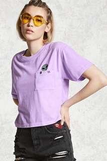 🚚 Forever 21 Boxy Alien Patch Pocket Tee in Purple