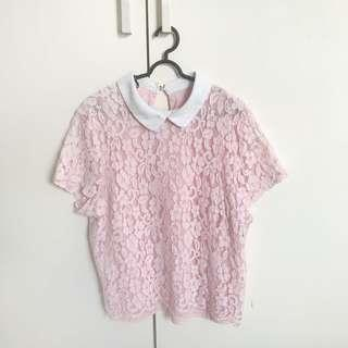 Chocochips Pastel Pink Lace Top