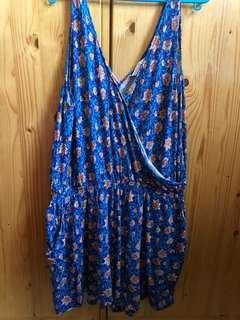 🚚 H&M Blue Floral Romper Dress
