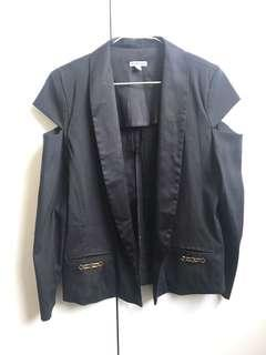 Bec & Bridge Open-Shoulder Detail Black Jacket Size 8 Designer