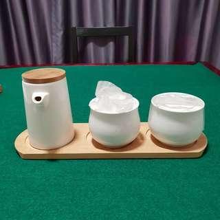 BN ceramic condiment jars