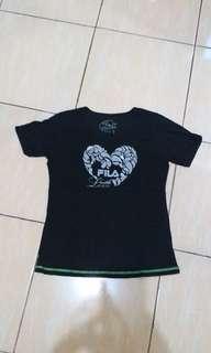 kaos tshirt tee Fila original black