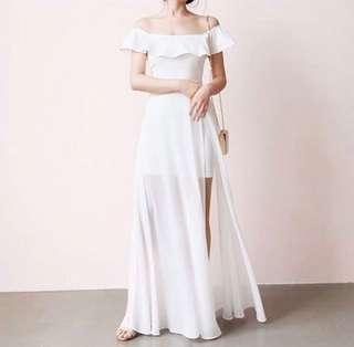 Avalyn Chiffon Slit Dress - White