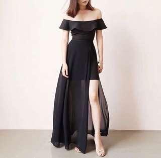 Avalyn Chiffon Slit Dress - Black