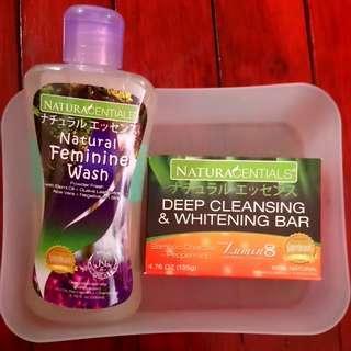 Natural Feminine Wash + Deep Cleansing & Whitening Bar Set