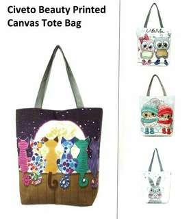 Civeto Beauty Printed Canvas Tote Bag wanita / Tas Selempang
