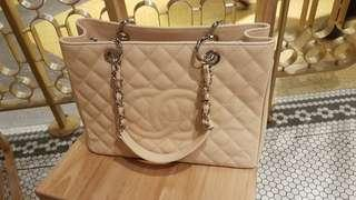 CHANEL BEIGE CAVIAR GRAND SHOPPING TOTE BAG SILVER HW
