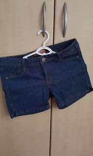 Denim with pin stripes shorts