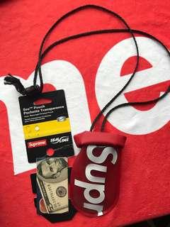 Supreme pouch case red holder tag small