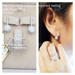 14k 2 carat face illusion wd power ring H color
