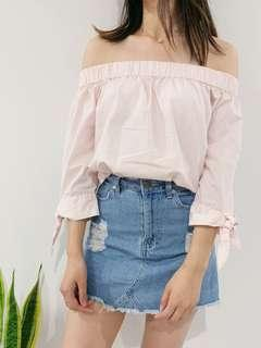 Pink Off the shoulder top with bows - factory
