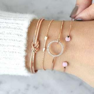 🚚 Golden Bracelet Set (Knot, Arrow, Ring, Circles)
