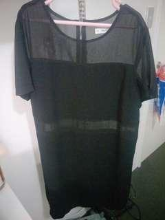 Black see-thru panneled dress