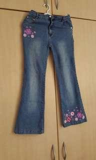 Ladies boot cut jeans with flower embroidery