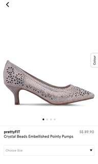 prettyFIT Crystal Beads Embellished Pointy Pumps