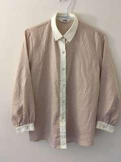 古著精緻細節淺米白色女襯衫