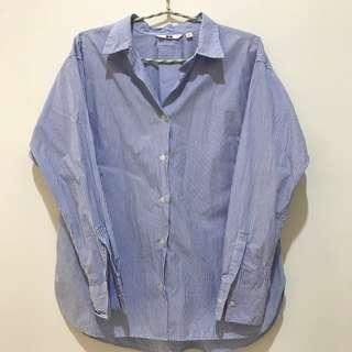 Oversized uniqlo shirt kemeja strip