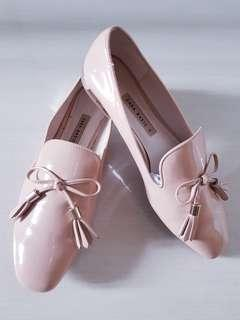 Zara patent nude loafer/shoes