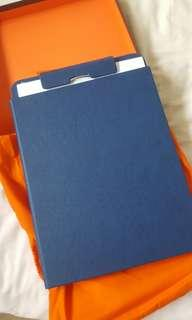 Fedon leather navy blue clipboard with paper pad and protective sleeve