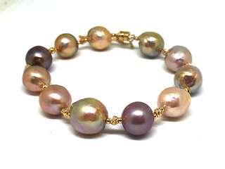 Baroque Shape Edison Pearl (Freshwater) Bracelet in silver 925 (Yellow Gold Plated)