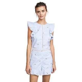 🚚 JOA Blue & White Striped Embroidered Blouse