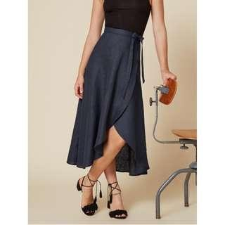 🚚 Gabby Skirt - Navy Linen Blend (Reformation) - hardly worn