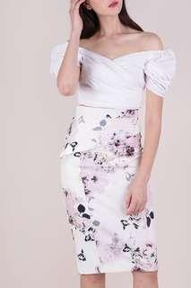 Marco Pencil Skirt - White Floral