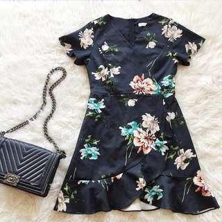 ruffle flower dress / floral kimono dress shun xin