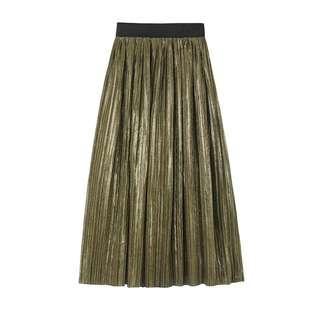 🚚 金屬金色綠色.金綠色中長裙.細百褶裙
