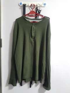 oversized green long sleeved pullover
