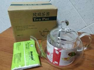 Glass Tea Pot with Glass Strainer
