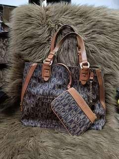 Bonia monogram handbag 2 in 1 with pouch