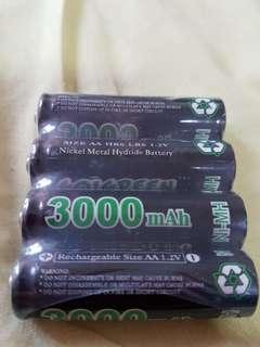 Rechargeable AA batteries 3000nimh
