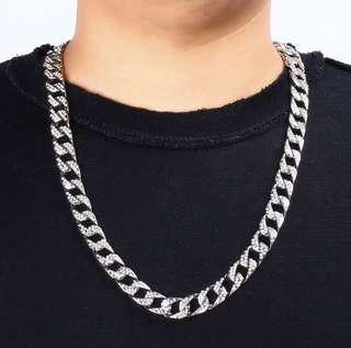 🚚 Silver Cuban Link Necklace Iced Out