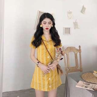 INSTOCK Yellow Striped Button Dress