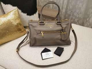 d5cfb0704914 Grey Prada Vitello Daino bag (colour  Argilla)