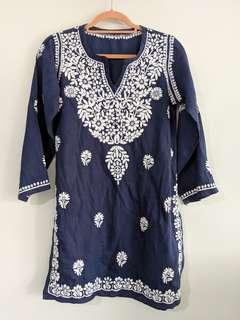 Hand embroidered kurti blouse tunic